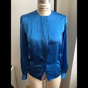 Givenchy Paris Womens Blue Long Sleeve Blouse